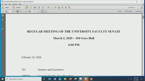 Thumbnail for entry Faculty Senate Meeting March 2nd 2020
