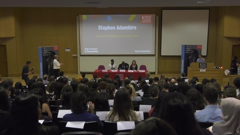 Thumbnail for entry Stephen Adombire at King's Experience Awards Ceremony 2018: Which leader do I aspire to be like and why?