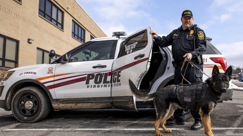 Thumbnail for entry Zuka becomes the Virginia Tech Police Department's newest K-9