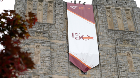 Thumbnail for entry Flags and banners installed in observance of  sesquicentennial celebration