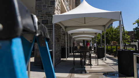 Thumbnail for entry Installing tents to give Hokies more space on campus