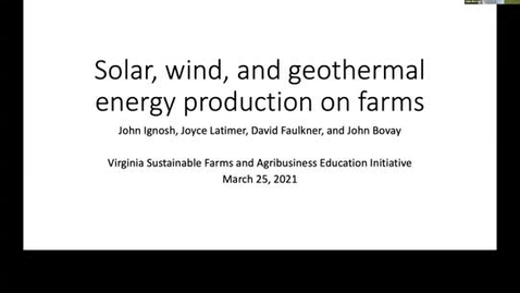 Thumbnail for entry Wind, solar, and geothermal energy production on farms