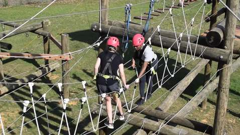 Thumbnail for entry Incoming 2019 MACR Cohort visit Venture Out ropes course