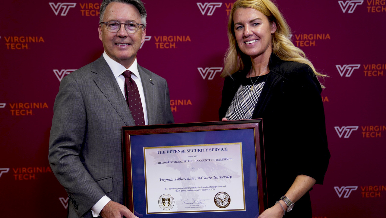 President Tim Sands remarks on Virginia Tech receiving award for Excellence in Counterintelligence