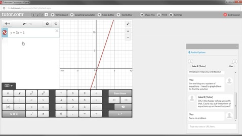 Thumbnail for entry Tutor.com - Using the Graphing Calculator