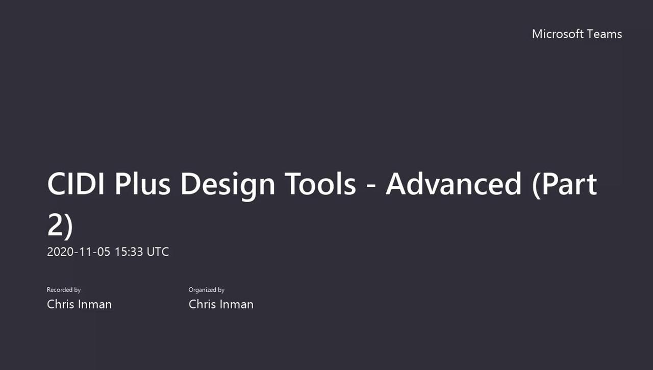 CIDI Plus Design Tools - Advanced (Part 2)