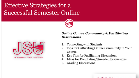 Thumbnail for entry Online Course Community & Facilitating Discussions