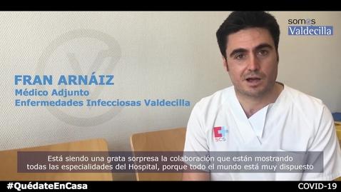 Miniatura para la entrada Médicos de Valdecilla COVID dan la bienvenida compañeros de otras especialidades