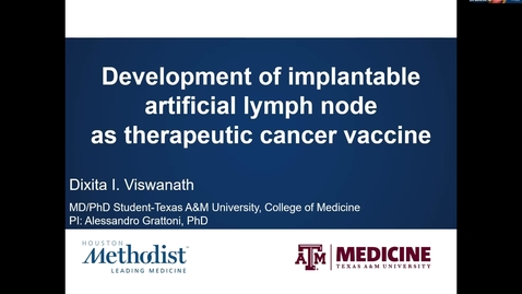Thumbnail for entry Houston Methodist Cancer Symposium - 8th Annual 8.7.20 (Dixita Viswanath, MD/PhD Student)