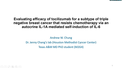 Thumbnail for entry Houston Methodist Cancer Symposium - 8th Annual 8.7.20 (Andrew Chung, MD/PhD Candidate)