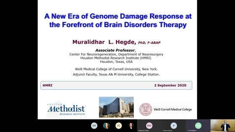 Thumbnail for entry A New Era of Genome Damage Response at the Forefront of Brain Disorders Therapy by Muralidhar L. Hegde, PhD, F-ABAP