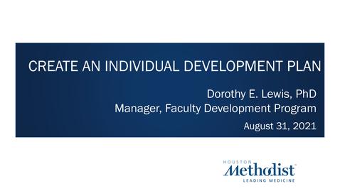 Thumbnail for entry Individual Development Plan 08.31.21