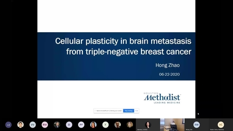 Thumbnail for entry Hong Zhao, MD, PhD - Cellular Plasticity in Brain Metastasis from Triple-negative Breast Cancer 06.22.20