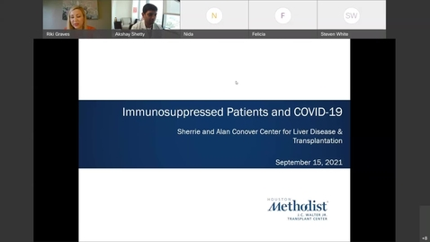 Thumbnail for entry Liver Center CE WebEx Series Immunosuppressed Patients and COVID-19 - Sept. 15, 2021