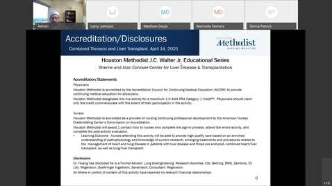 Thumbnail for entry Liver Center WebEx CE Series Combined Thoracic and Liver Transplant - 04.14.21