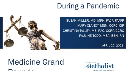 Thumbnail for entry Research Ethics During a Pandemic with Dr. Susan Miller and research panel - 04.20.21