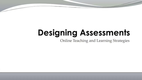 Thumbnail for entry Designing Assessments