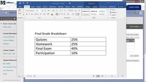 Thumbnail for entry Creating a Weighted Final Grade in the Grade Center