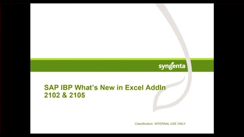 Thumbnail for entry IBP Excel AddIn 2105 Features
