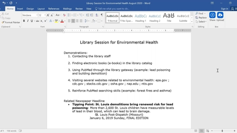 Thumbnail for entry Library session Environmental health search strategies