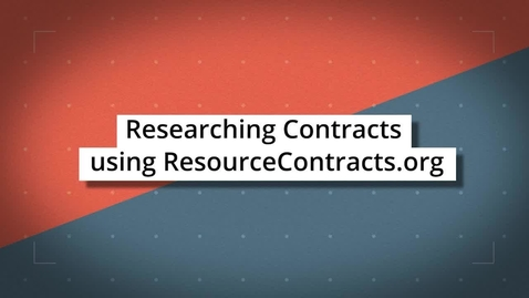 Thumbnail for entry Researching Contracts using ResourceContracts.org