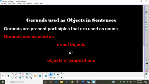 Thumbnail for entry Gerunds as Objects