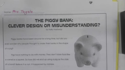 Thumbnail for entry Reading - August 27 - The Piggy Bank