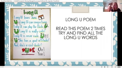 Thumbnail for entry 5.18.2020 Morning Message Focus: Long Vowel U and Review