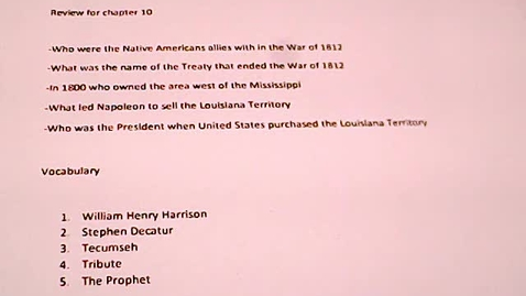 Thumbnail for entry Social Studies for April 14 /Review for Chapter Test 10