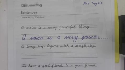 Thumbnail for entry Handwriting - Thursday September 3 - 5th Grade