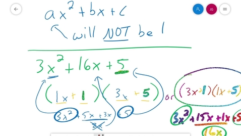 Thumbnail for entry Algebra 1 3.6 factoring when a is not 1 Part 2