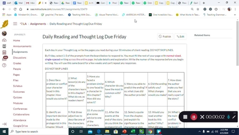 Thumbnail for entry Daily Reading and Thought Log Apr 6-10