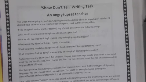 Thumbnail for entry 6TH Writing - Showing not telling - emotion - An angry teacher