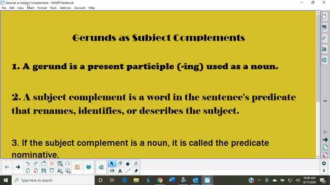 Thumbnail for entry Gerunds as Subject Complements