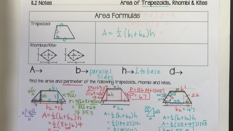 Thumbnail for entry 11.2 part 2 notes Area of Rhombi and Kites - Quiz
