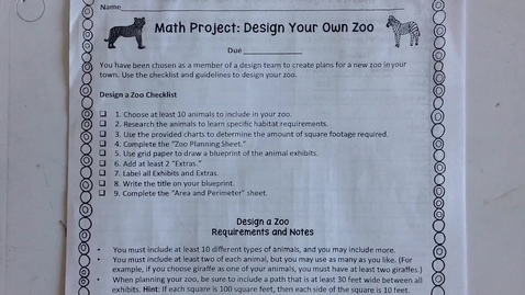 Thumbnail for entry Design a Zoo Planning Sheet