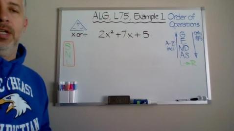 Thumbnail for entry Algebra 1, Lesson 75, Example 1