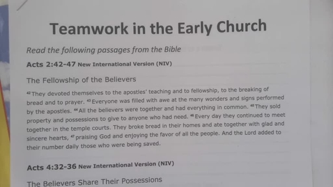 Thumbnail for entry 6th Grade Bible Tuesday April 28, 2020 - Teamwork in the Early Church