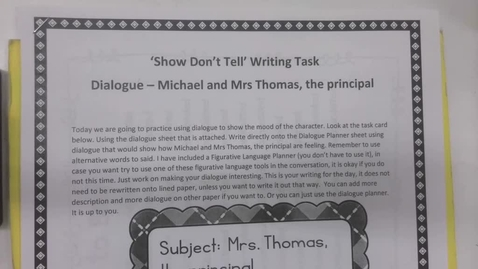 Thumbnail for entry 6th Grade Writing - Show don't tell  dialogue - Michael and Mrs Thomas - Monday May 11