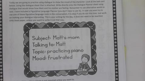 Thumbnail for entry 6th Grade Writing - Show don't tell dialogue - Matt and his Mom - Frustration May 7