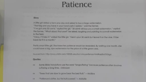 Thumbnail for entry 6th Grade Bible - Fruits of the Spirit - Patience - Thursday May 7