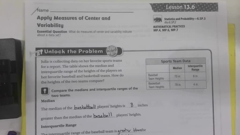 Thumbnail for entry 6th Grade Math  13.6 - Apply Measures of Center and Variability - Tuesday May 19