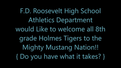 Thumbnail for entry 2020 Franklin D. Roosevelt High School Athletics  Recruitment Video