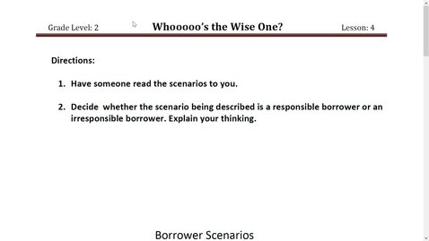 Thumbnail for entry Activity 2 Borrower Scenarios