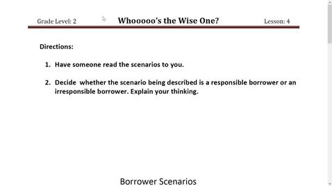 Thumbnail for entry Activity 2 Borrower Scenarios