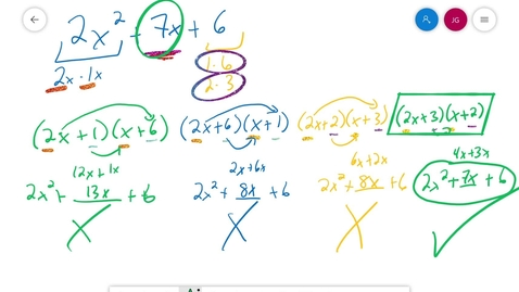 Thumbnail for entry Algebra 1 3.6 factoring when a is not 1 Part 3