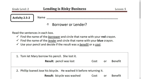 Thumbnail for entry Activity 6 Borrower or Lender