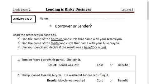 Thumbnail for entry Activity 6 Borrower or Lender