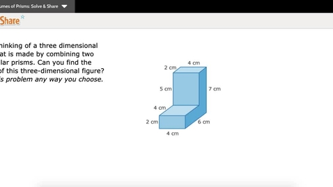 Thumbnail for entry Finding volumes of Combined Rectangular Prisms (10-4)