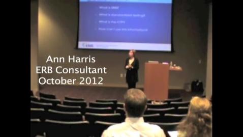 Thumbnail for entry ERB Consultant - Ann Harris
